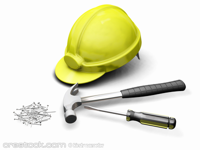 3D render of hard hat and tools