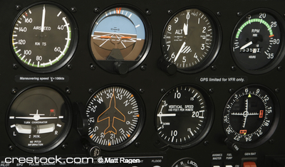 A control panel in a small airplane is filled ...